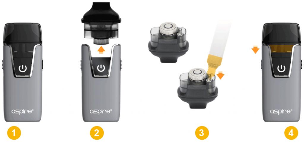 Aspire AIO komplet elektronska cigareta polnjenje