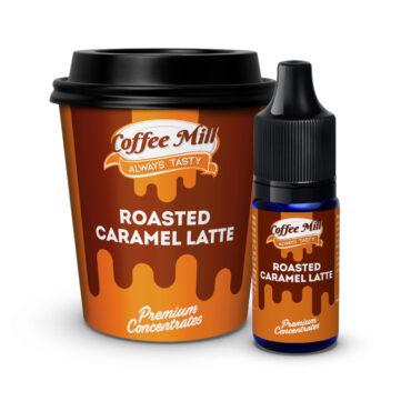 Roasted Caramel Latte - Temno pražena kavna zrna, kuhana, pomešana s svežim mlekom in aromatizirana z vročo in kremasto karamelo.